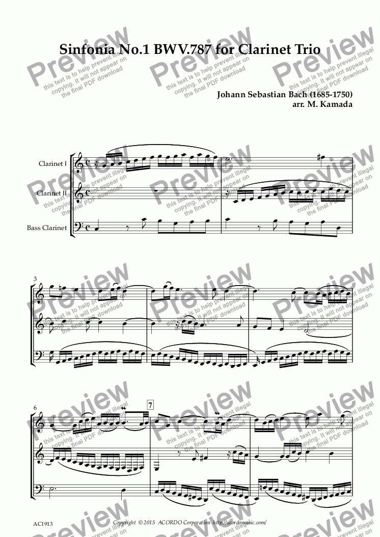 page one of Sinfonia No.1  BWV.787  for Clarinet Trio
