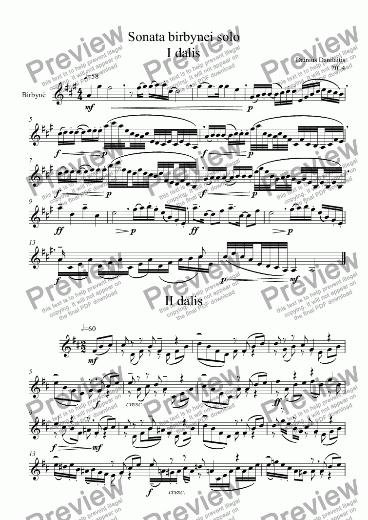 page one of Sonata Birbynei solo