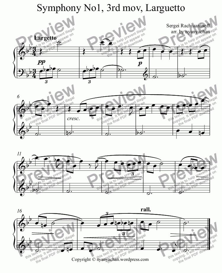 page one of Symphony No1, 3rd mov, Larguetto