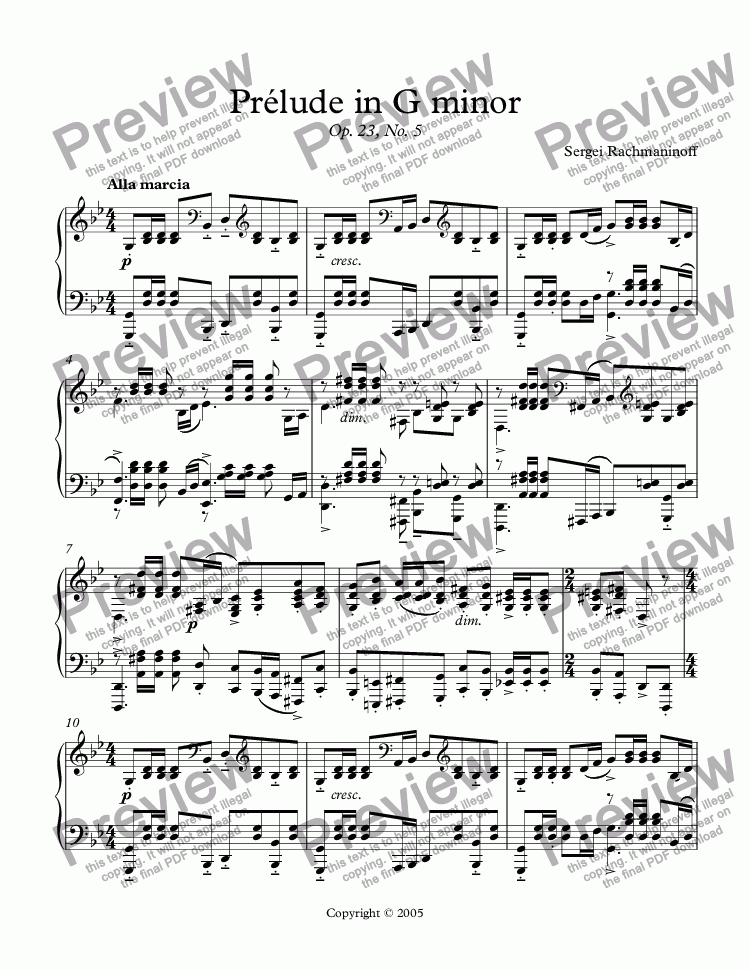 page one of Prélude in G minor