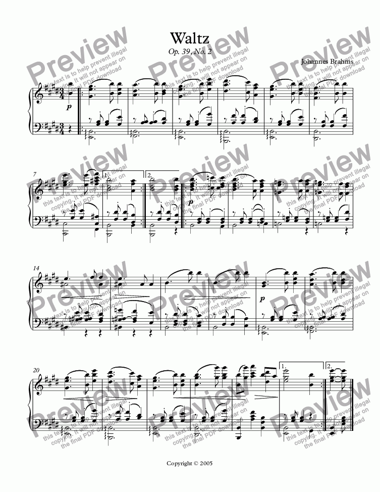 page one of Waltz in E (Brahms)