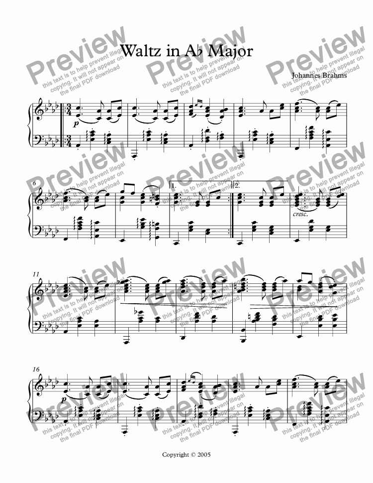 page one of Waltz in Ab Major