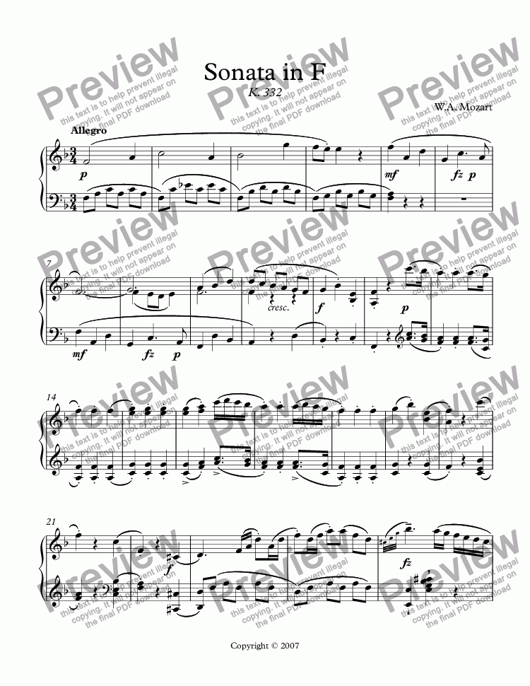 page one of Sonata in F