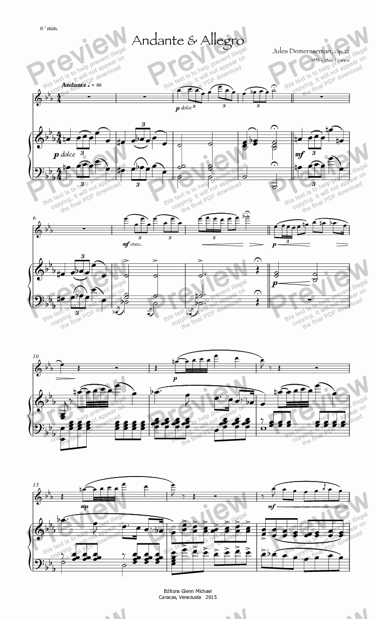 page one of Demmersseman Andante & Allegro for flute & pno
