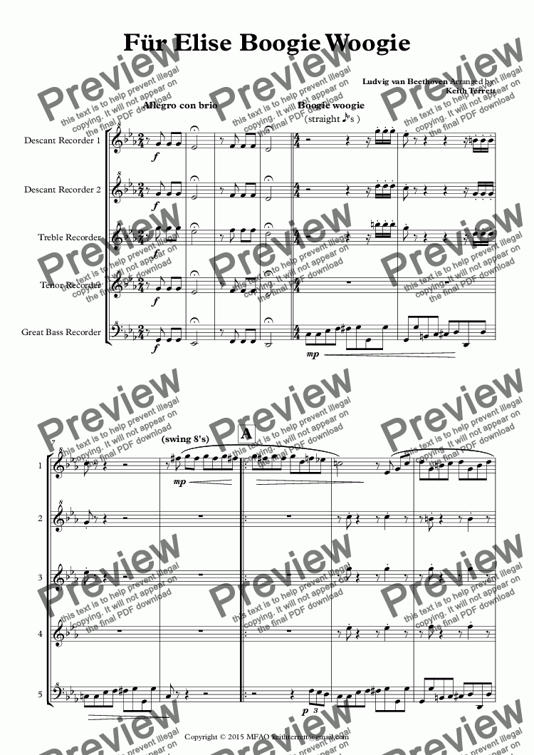 page one of Für Elise Boogie Woogie for Recorder Consort (Jazz for 5 Series)