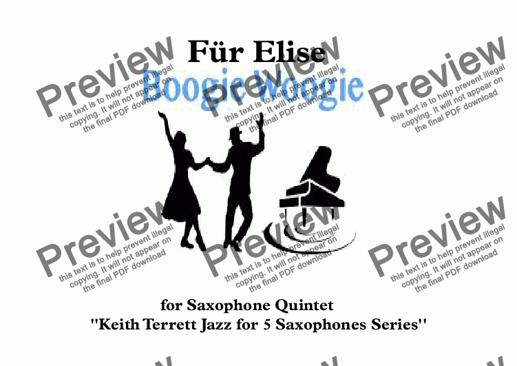 page one of Für Elise Boogie Woogie for Saxophone Quintet (Jazz for 5 Saxophones Series)ASALTTEXT