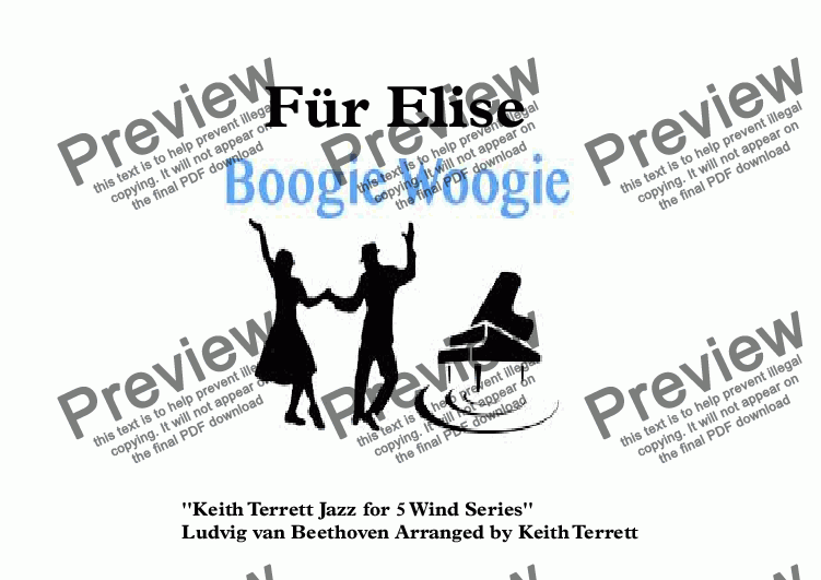 page one of Für Elise Boogie Woogie for Wind Quintet (Keith Terrett Jazz for 5 Wind Series)