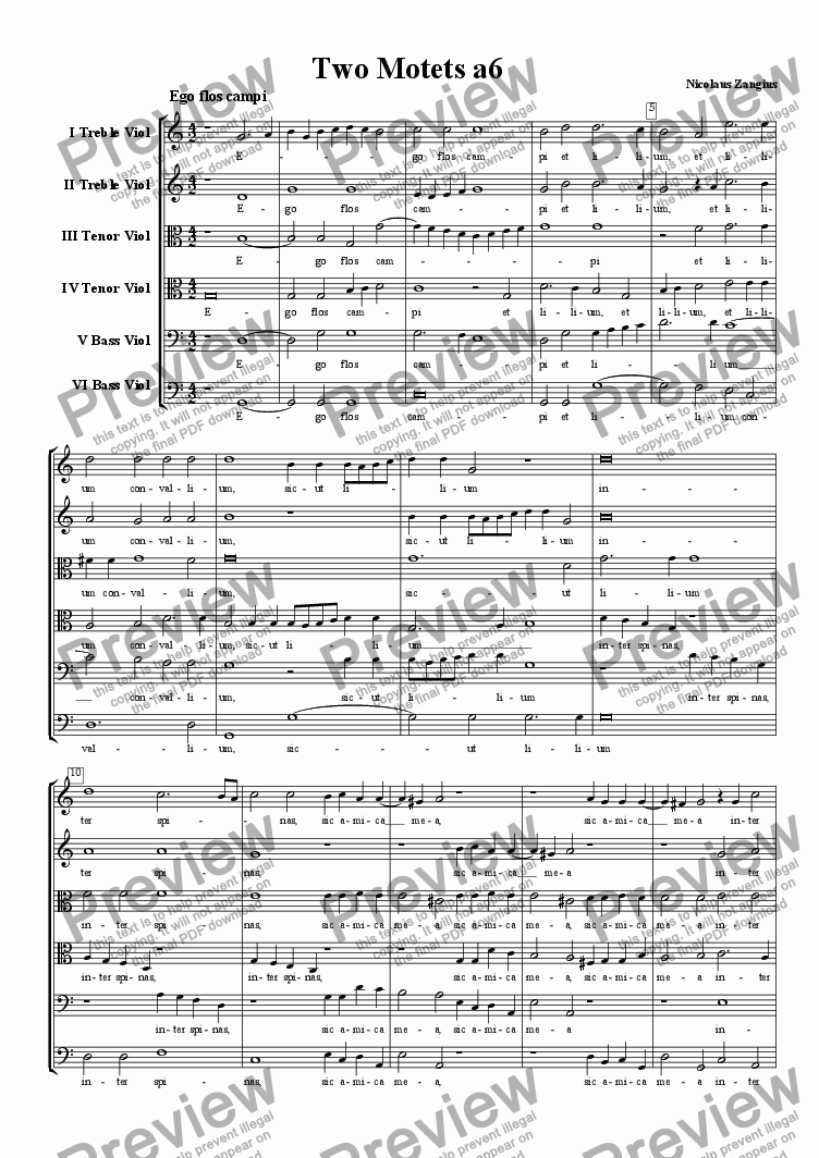 page one of Two Six-part Motets