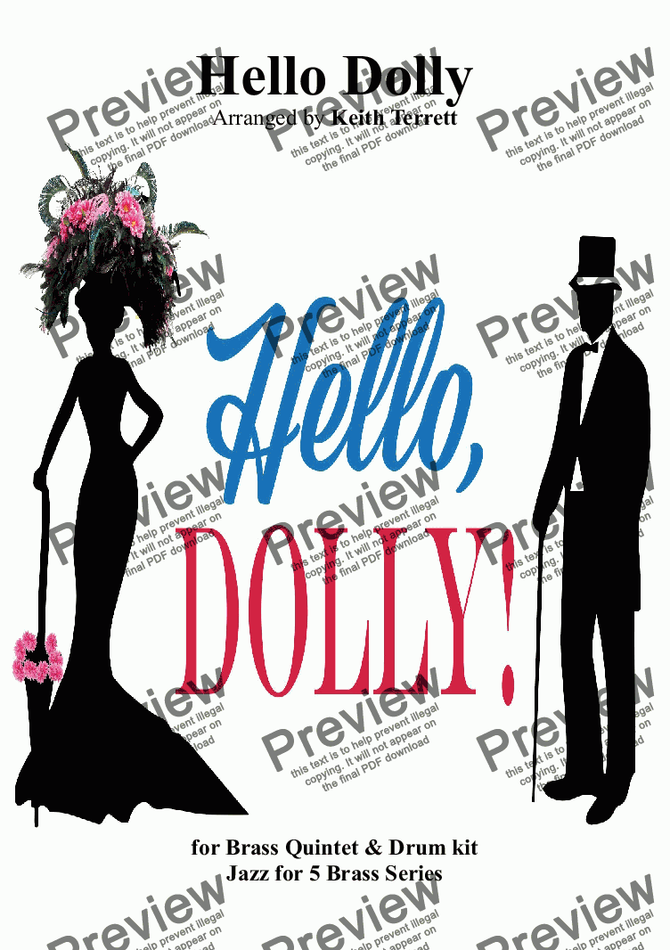 page one of Hello Dolly for Brass Quintet & Drum set (Jazz for 5 Brass Series)