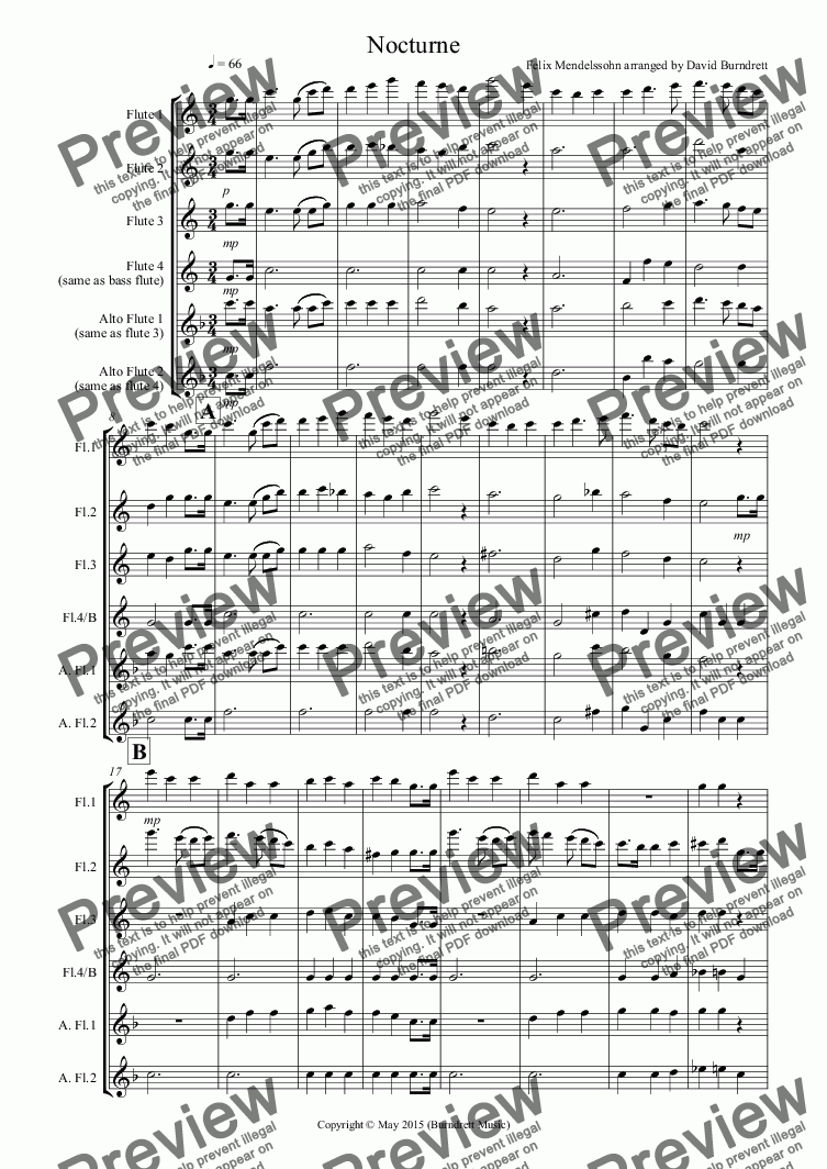 page one of Nocturne (from A Midsummer Night's Dream) for Flute Quartet