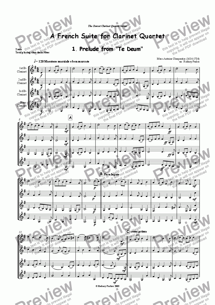 page one of A French Suite for Clarinet QuartetASALTTEXT