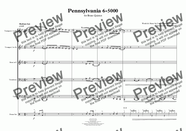 page one of Pennsylvania 6-5000  for Brass Quintet & Drum Set