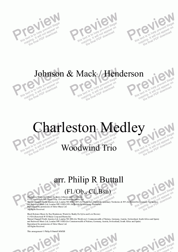 page one of Charleston Medley (Woodwind Trio)