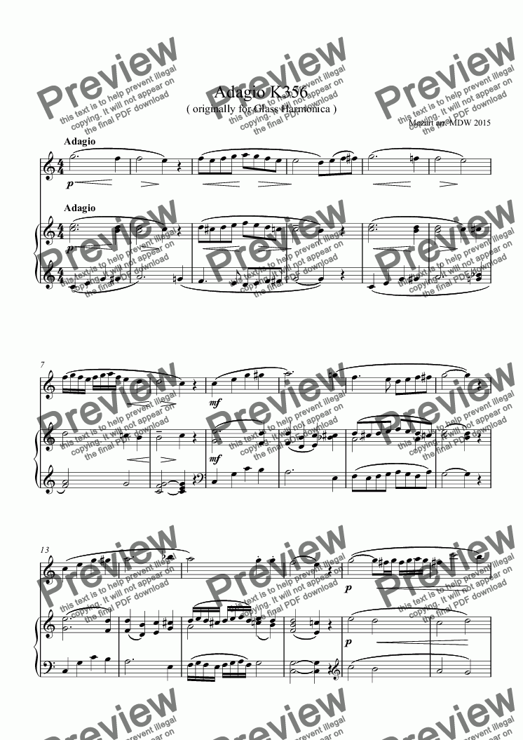 page one of Mozart Adagio for Flute and Piano