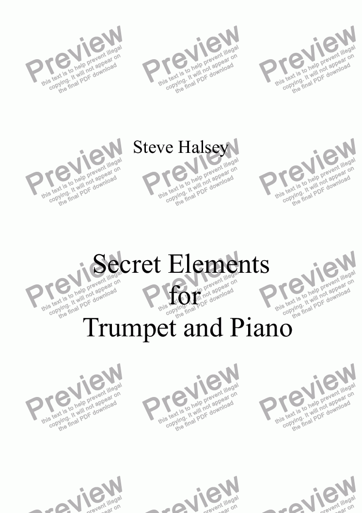 page one of Secret Elements for Trumpet and Piano