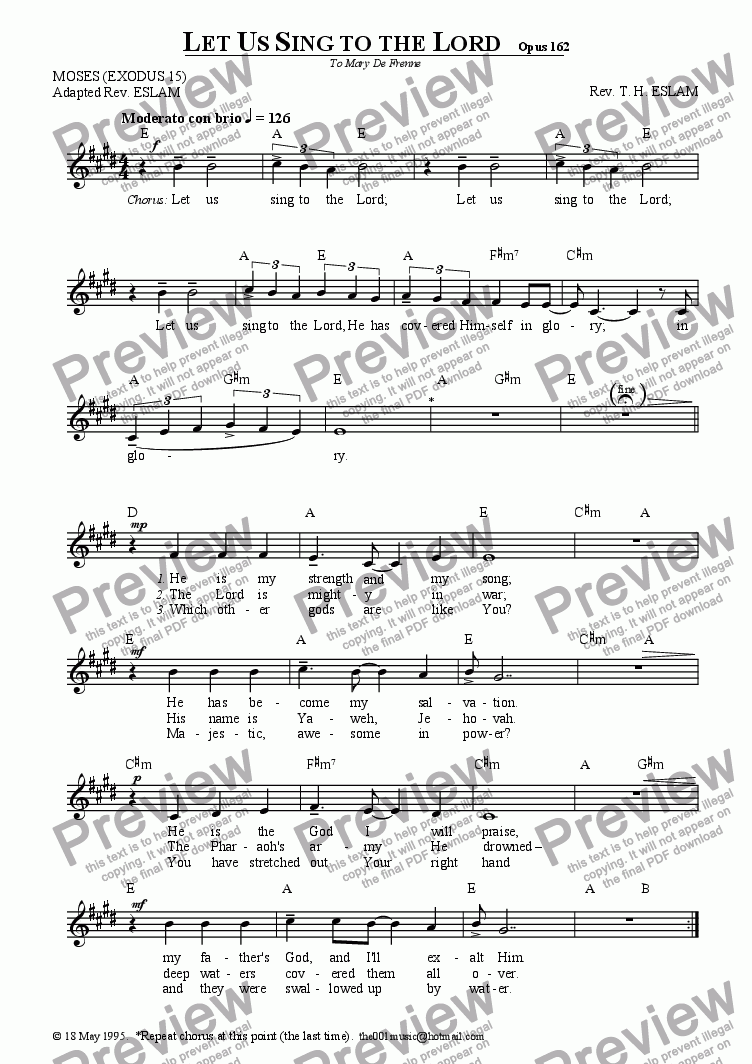 page one of Let Us Sing to the Lord