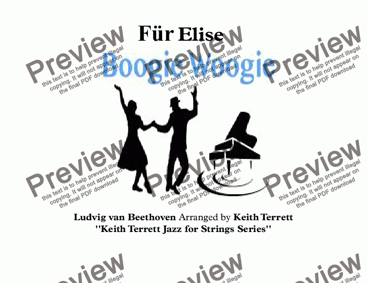 page one of Für Elise Boogie Woogie for Violin & Piano (Keith Terrett Jazz for Solo Strings  Series)