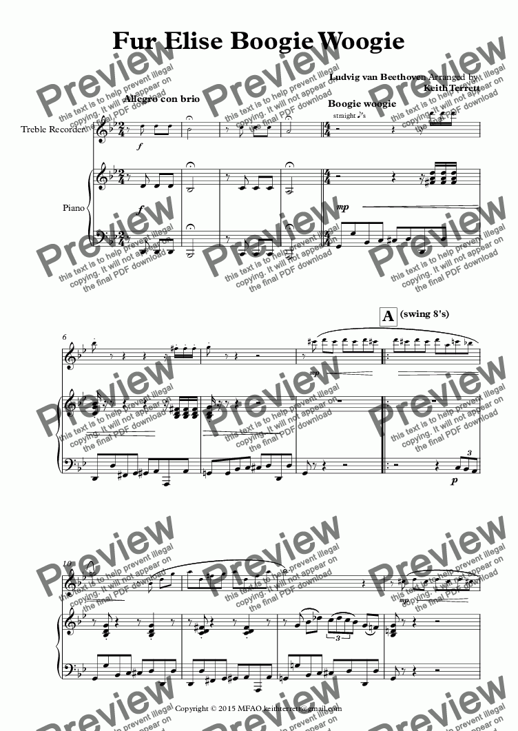 page one of Für Elise Boogie Woogie for Treble Recorder & Piano (Keith Terrett Jazz for Wind Series)