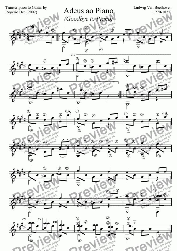 Beethoven Adeus ao Piano Goodbye to Piano Solo Guitar – Beethoven Worksheet