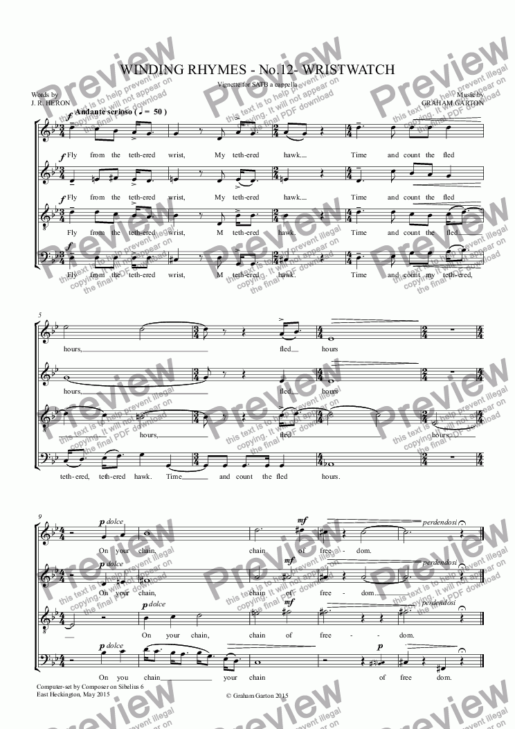page one of *SONG CYCLE - 'WINDING RHYMES' Vignette for SATB a cappella - No.12 - 'WRISTWATCH'. Words: J. R. Heron ASALTTEXT