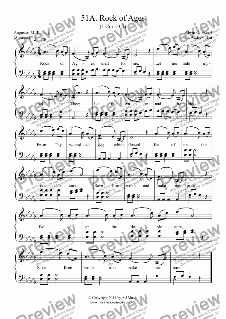 page one of Rock of Ages - Easy Piano 51A