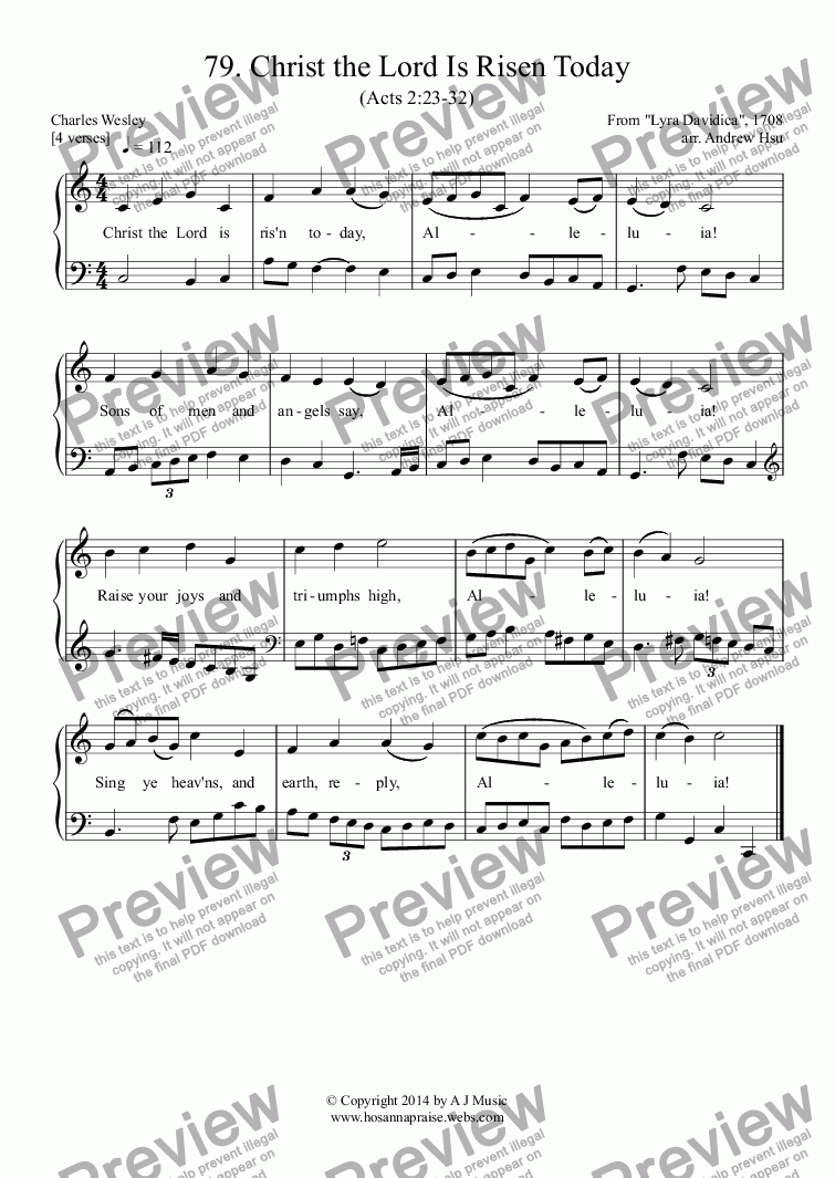 page one of Christ the Lord Is Risen Today - Easy Piano 79