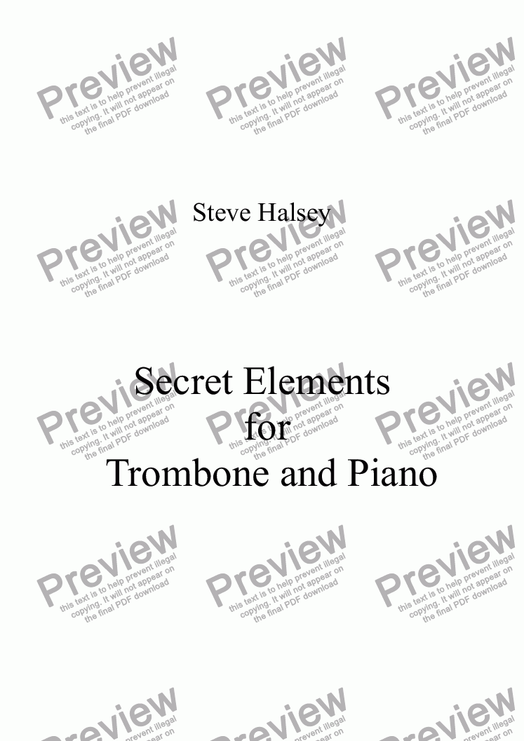 page one of Secret Elements for Trombone and Piano