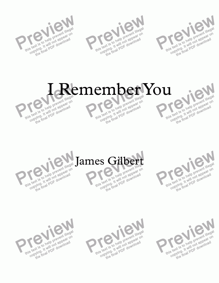 page one of I Remember You