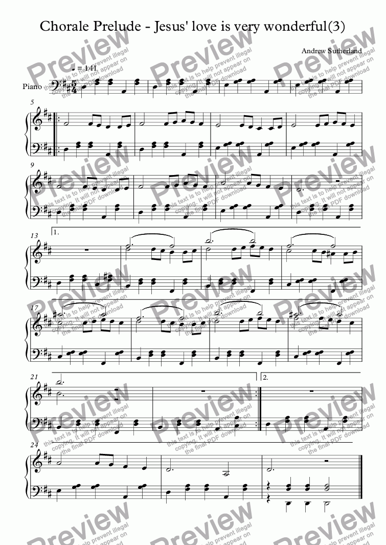 page one of Chorale Prelude - Jesus' love is very wonderful(3)