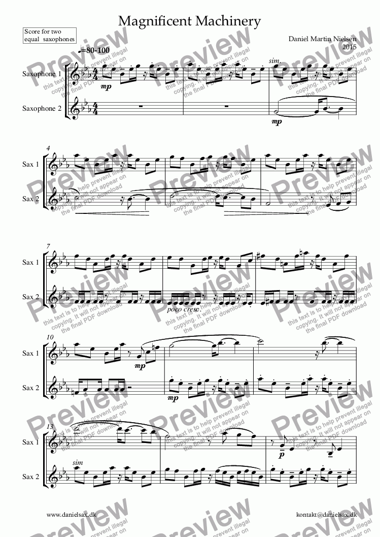 page one of Magnificent Machinery - duet for 2 equal saxophones