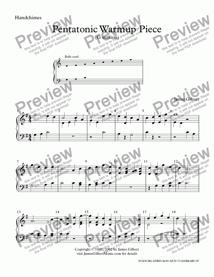 page one of Pentatonic Warmup Piece (G version)