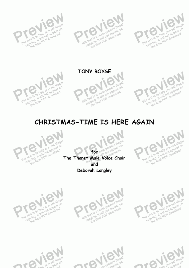 page one of Carol: Christmas-time is here again Male VoicesASALTTEXT