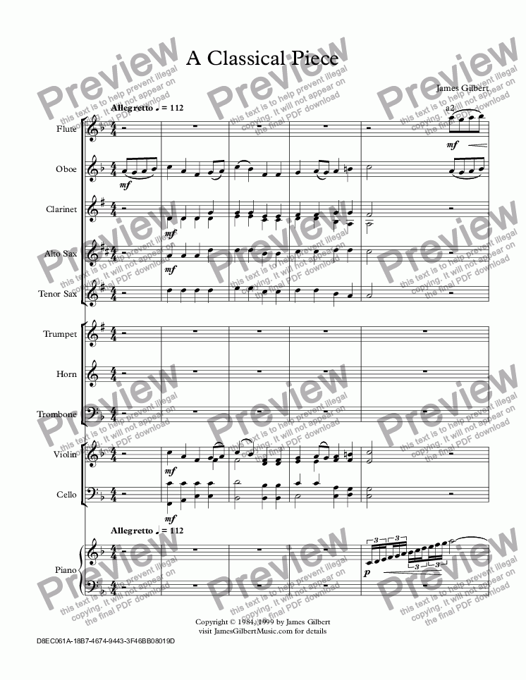 page one of A Classical Piece