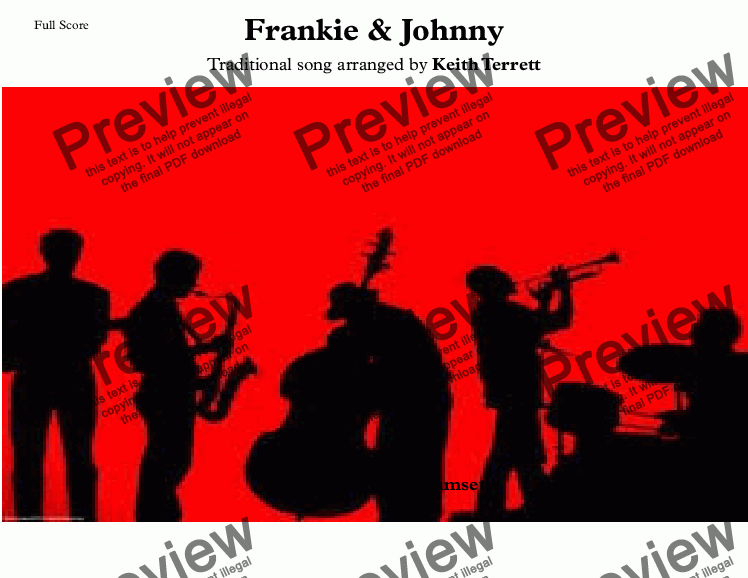 page one of Frankie & Johnny for Brass Quintet (Jazz for 5 brass series)