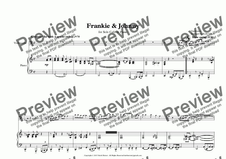 page one of Frankie & Johnny for Cello & Piano