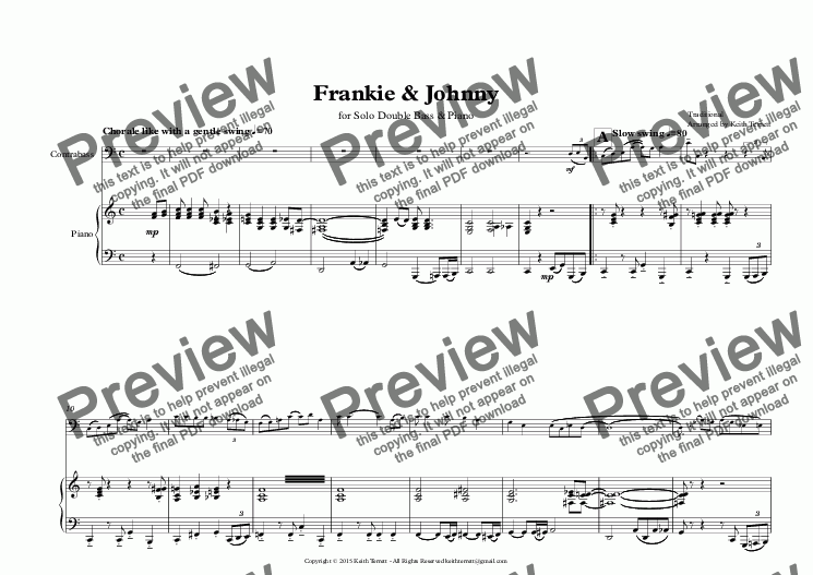 page one of Frankie & Johnny for Double Bass & Piano