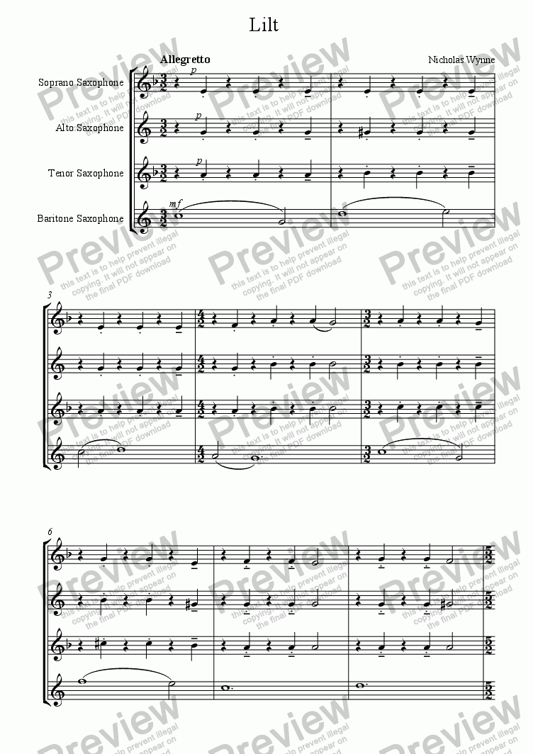 page one of Lilt, 3rd. movement from Suite for Saxophone QuartetASALTTEXT