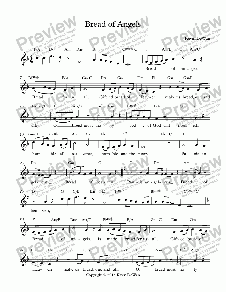 page one of Bread of Angels