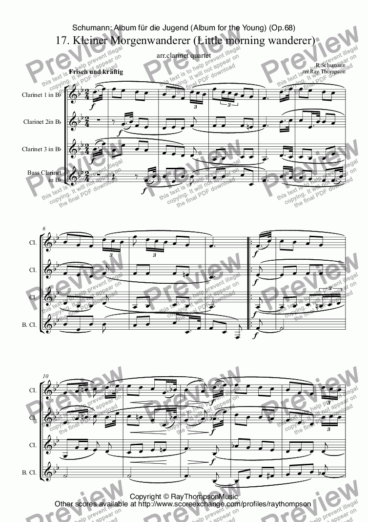 page one of Schumann: Album für die Jugend (Album for the Young) (Op.68)  17. Kleiner Morgenwanderer (Little morning wanderer) arr.clarinet quartet