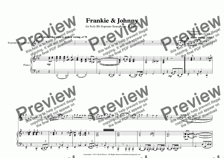 page one of Frankie & Johnny for Bb Tenor Saxophone