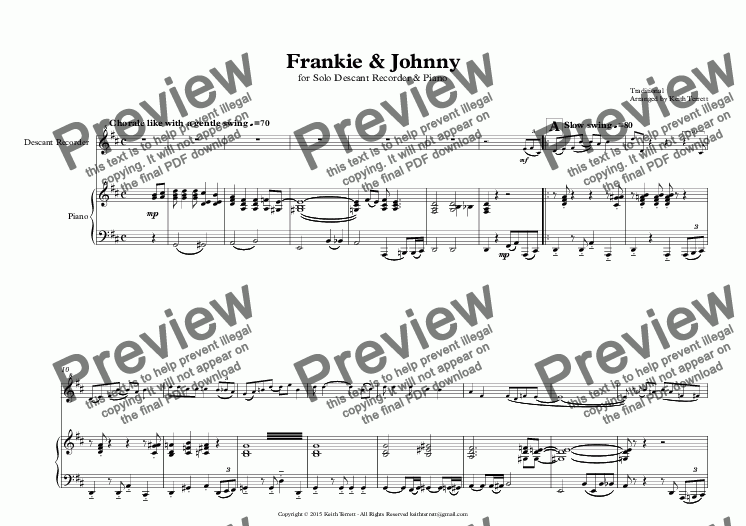 page one of Frankie & Johnny for Descant Recorder & Piano
