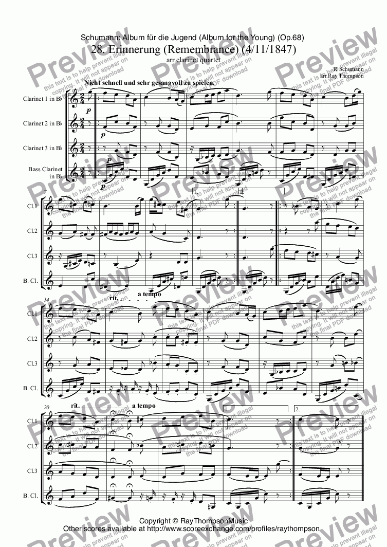 page one of Schumann: Album für die Jugend (Album for the Young) (Op.68)  28. Erinnerung (Remembrance) (For the death of Mendelssohn:4th Nov.1847) arr. clarinet quartet