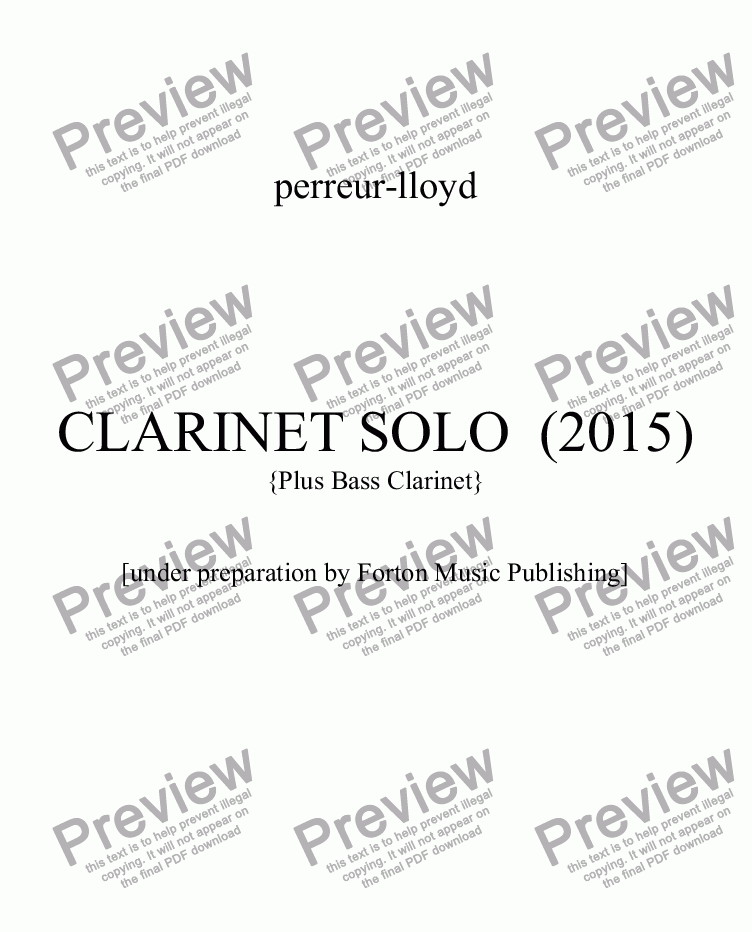 page one of SOLO  CLARINET 2015
