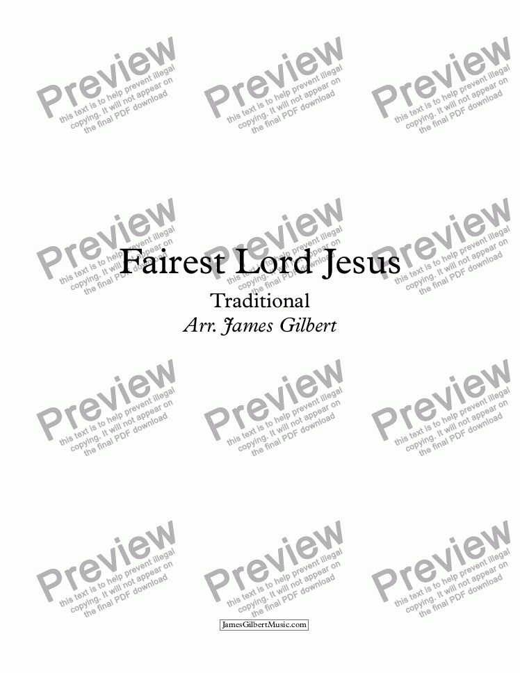 page one of Fairest Lord Jesus