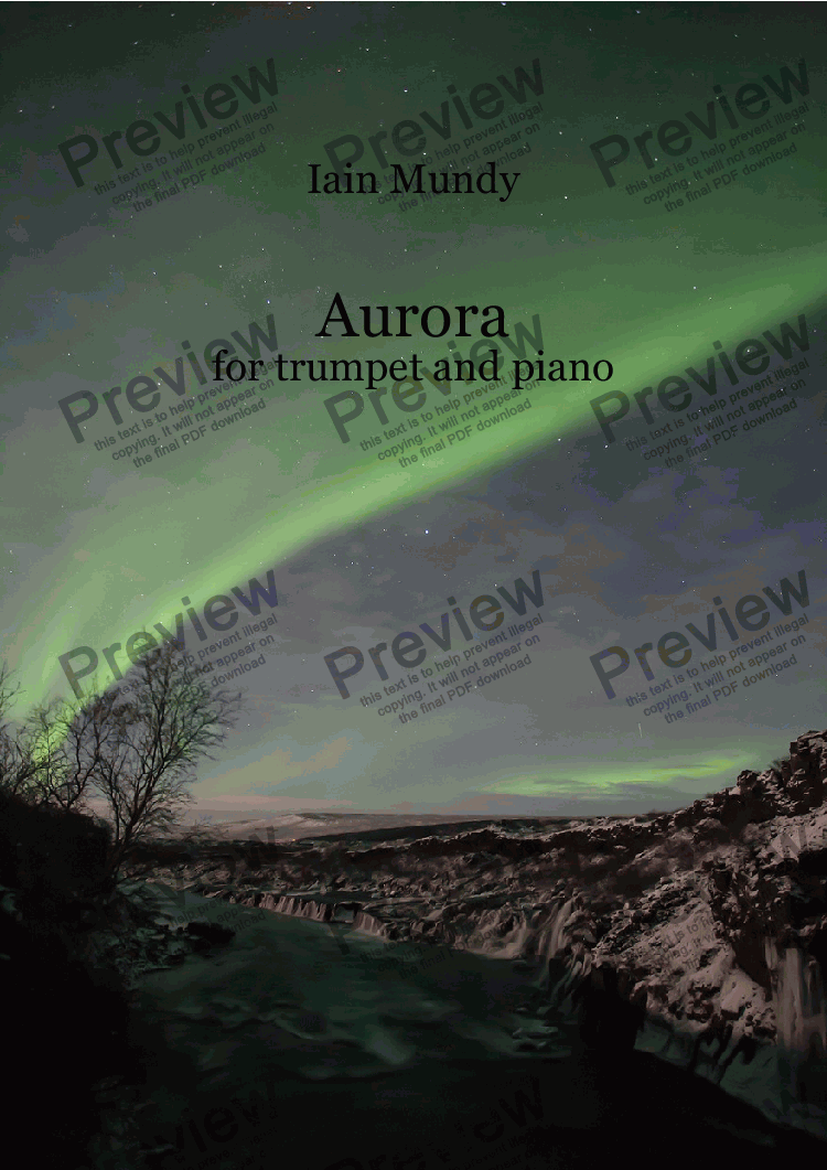 page one of Aurora for Trumpet and Piano