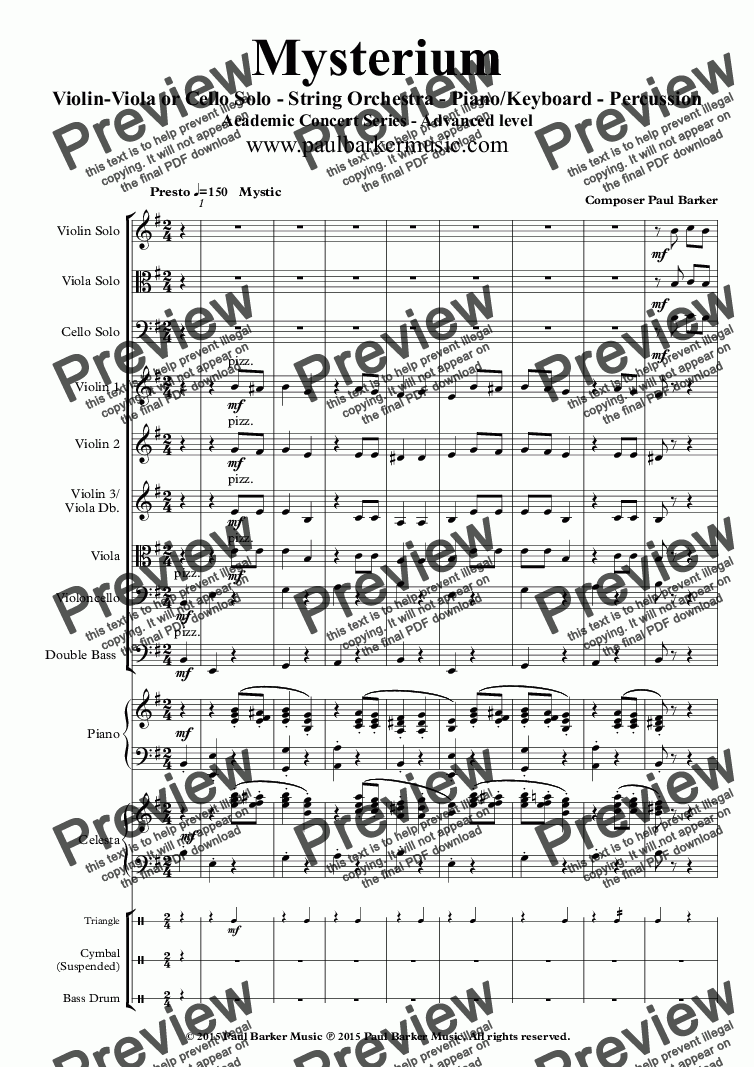page one of Mysterium (String Orchestra and Optional Soloist)