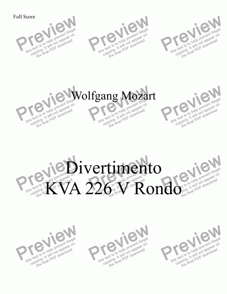 page one of DIVERTIMENTO, KVA 226ASALTTEXT