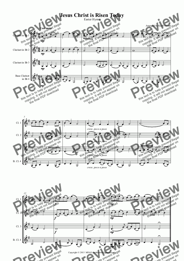 page one of Jesus Christ is Risen Today for Clarinet Quartet (3 Bb & 1 Bass)