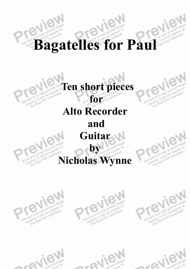 page one of Bagatelles for Paul, Guitar and Alto Recorder