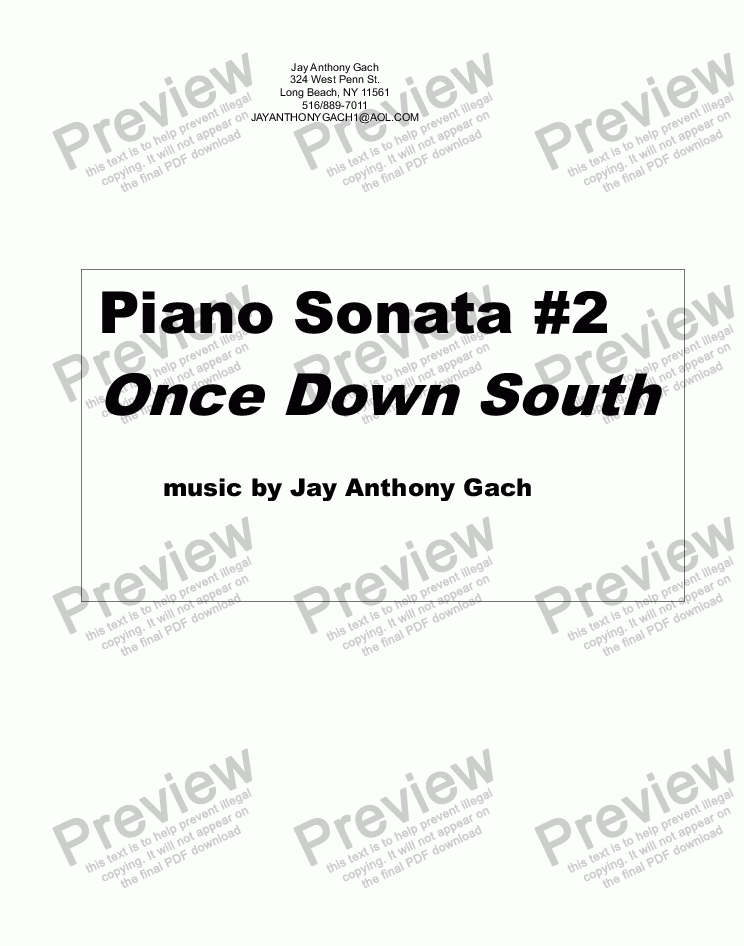 page one of Piano Sonata #2 Once Down South
